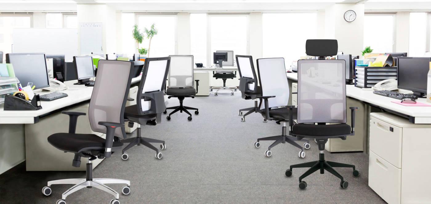 Light Colección de sillas operativas con respaldo de malla y tapizado para oficinas dinámicas y actuales.