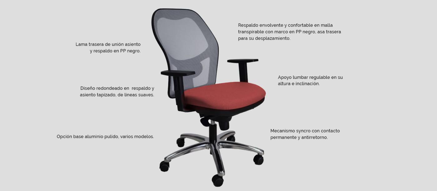 Serie Work Silla ergonómica para oficina y home-office. La colección Work destaca por su diseño ligero, tamaño compacto y confortable adaptabilidad al usuario.
