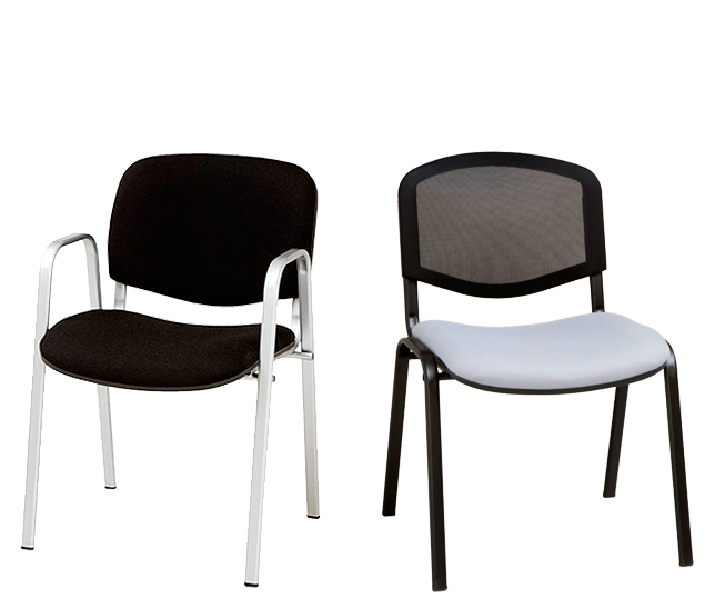Colección de sillas colectividades y multiusos Monka para instalación de colectividades y oficinas disponible en tapizado ,madera barnizada con asiento tapizado y respaldo en tejido de red perforada color negro, con estructura metálica de cuatro patas en tubo de acero oval acabado en epoxi plata o negro.