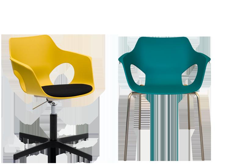 Sillas multifunción y contract Olé Colección de sillas con mono-carcasa de polipropileno en atractivos colores diseñada por Ximo Roca