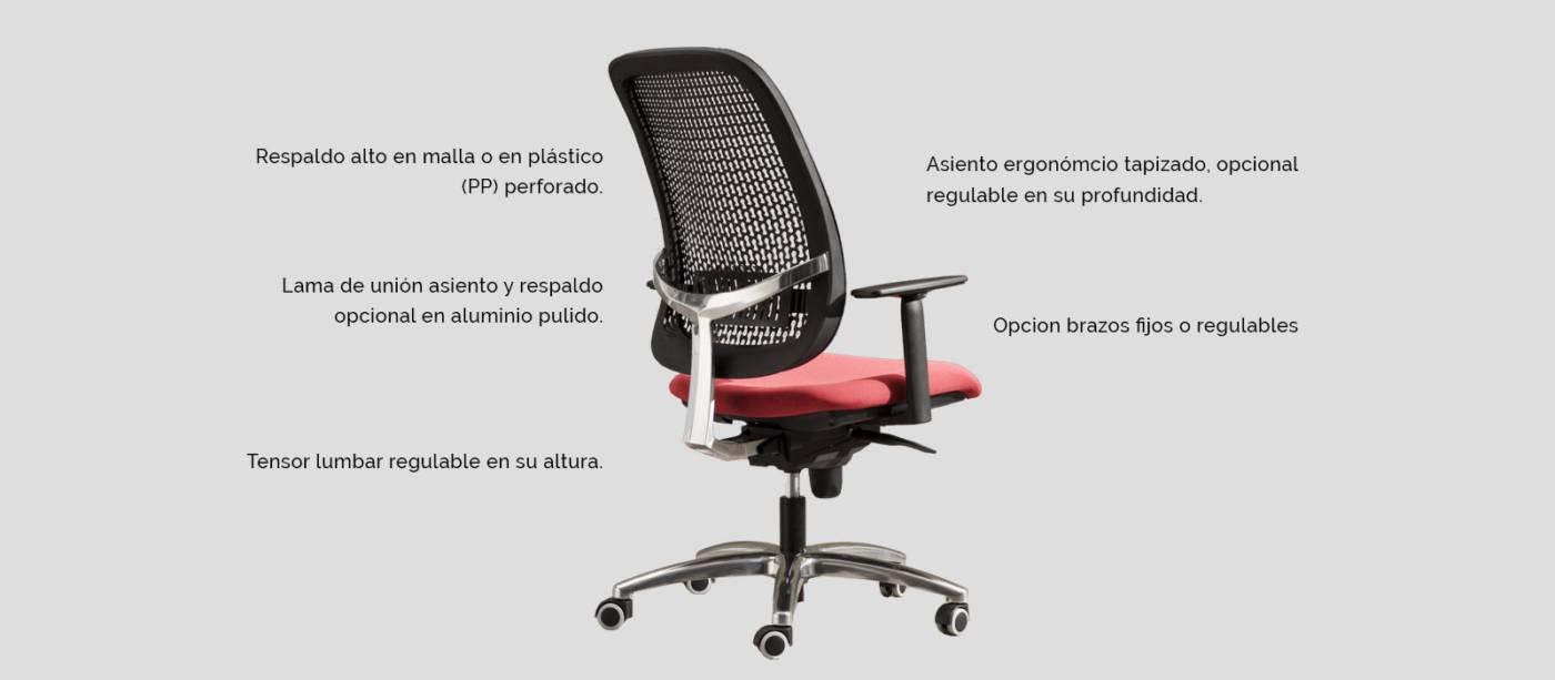 Serie Equity - delaoliva Amplia colección de sillas operativas, flexible en su oferta, con RESPALDOS TÉCNICOS en malla o en plástico reticular , FACILITAN LA TRANSPIRACIÓN de la espalda y la limpieza del respaldo