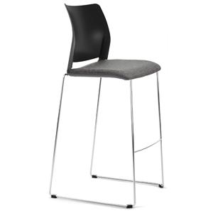Taburete modelo Spacio de polipropileno con asiento tapizado