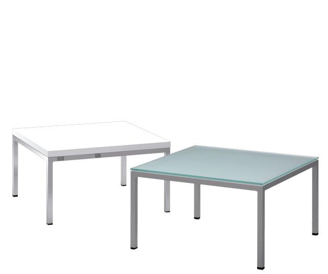 Colección de mesas de centro ideal para salas de espera. Líneas geométricas neutras para dar forma a una mesa con estilo propio.