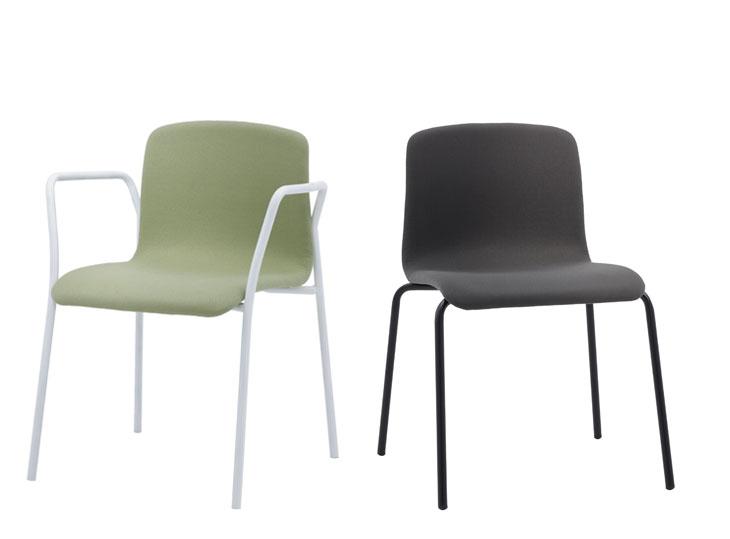 Hug Colección de sillas y taburetes tapizados para instalación y contract. Diseñada por Ximo Roca con esmerada atención en las proporciones y ERGONOMÏA concebidas en cada pieza de la colección.