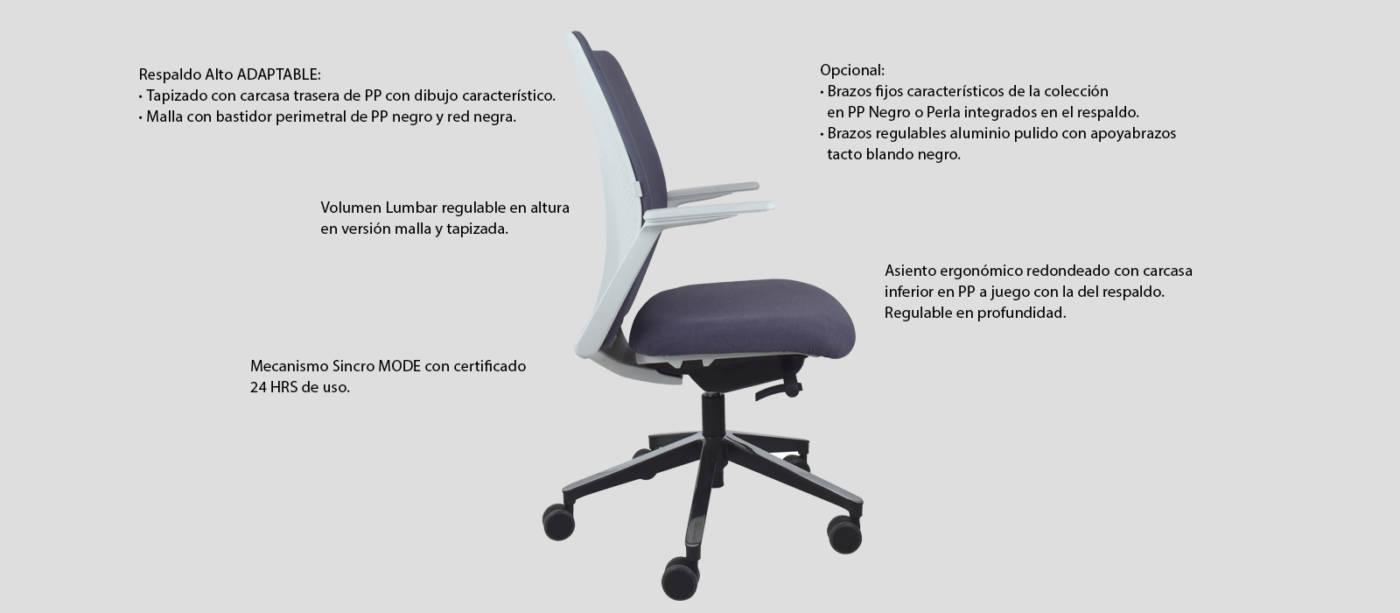 Características técnicas generales de la silla operativa para oficinas modelo Arc delaoliva